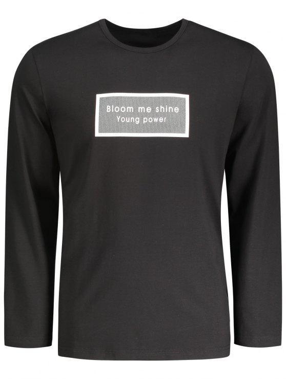 T-shirt imprimé à manches longues - Noir 2XL