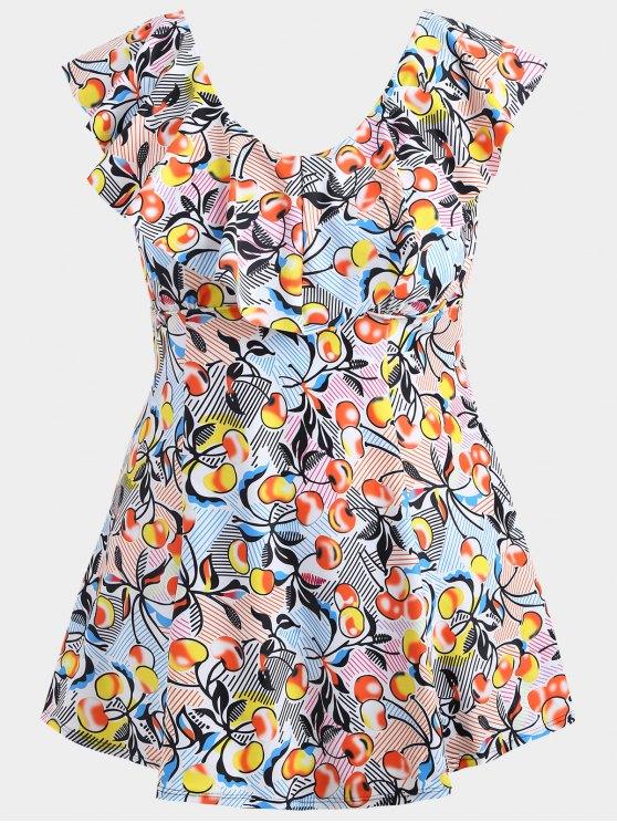 lady Overlay Cherry Print Skirted Plus Size Swimwear - COLORMIX 2XL