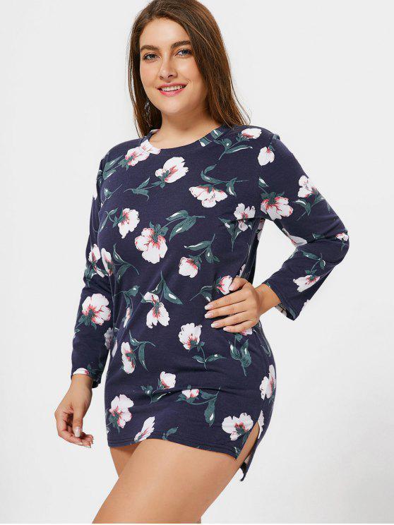 unique Plus Size Floral Mini Long Sleeve Dress - PURPLISH BLUE 4XL