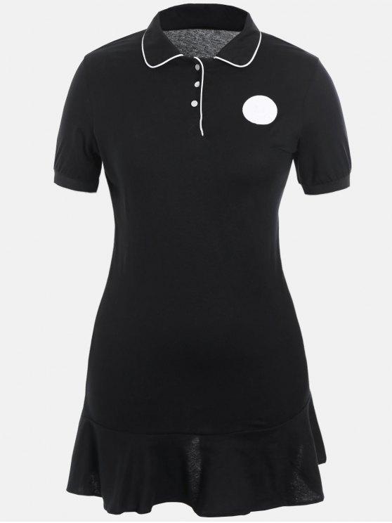 فستان الحجم الكبير كشكش بولو - أسود 4XL