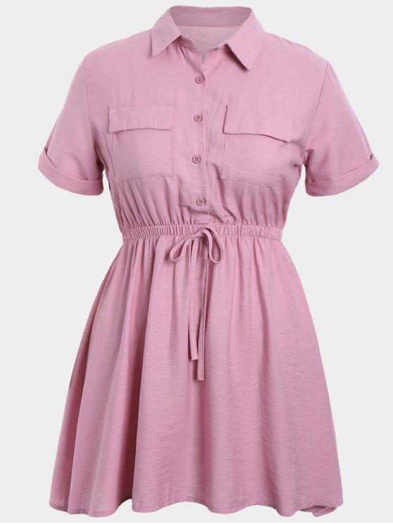 lady Plus Size Cuffed Shirt Dress - PINK 2XL