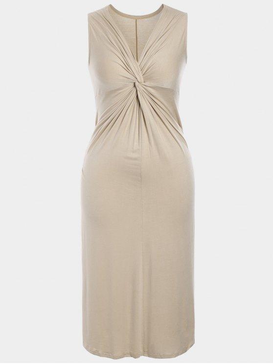 Robe Twist Plus Size - Abricot 3XL