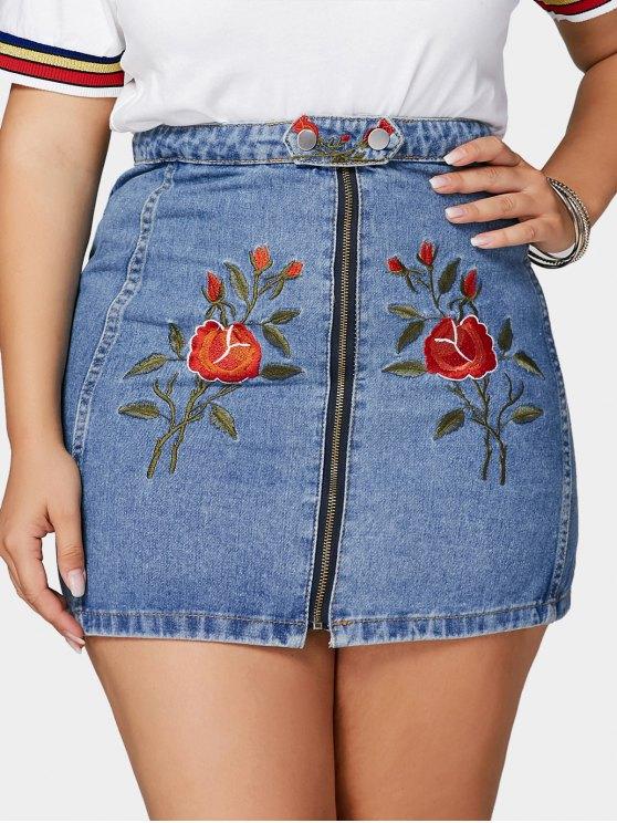 Flor bordada más la falda del dril de algodón del tamaño - Azul 5XL