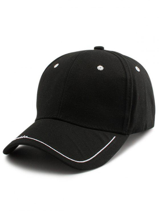 Chapéu de basebol bordado da borda das letras de linha - Preto