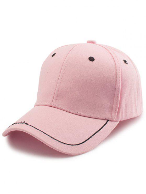 Line Letters Embellished Brim Baseball Hat - ROSE PÂLE
