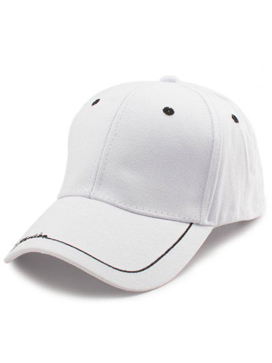 Chapéu de basebol bordado da borda das letras de linha - Branco