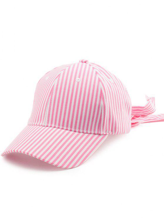 Gestreifter Bowknot Long Tail Baseball Hat - Pink