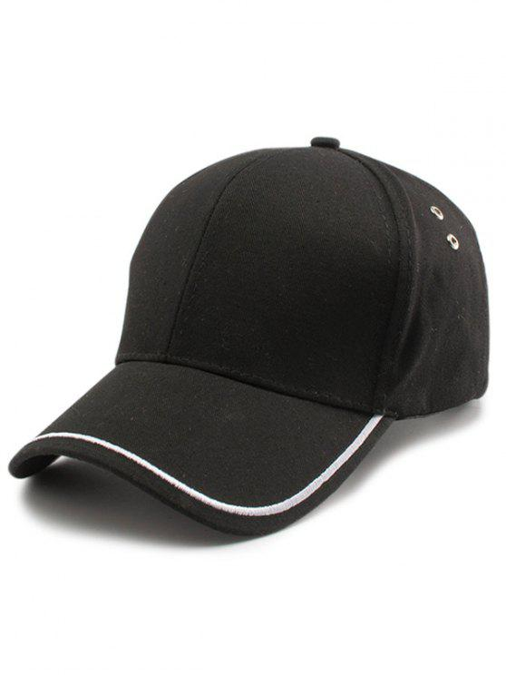 trendy Plain Line Embroidery Baseball Hat - BLACK