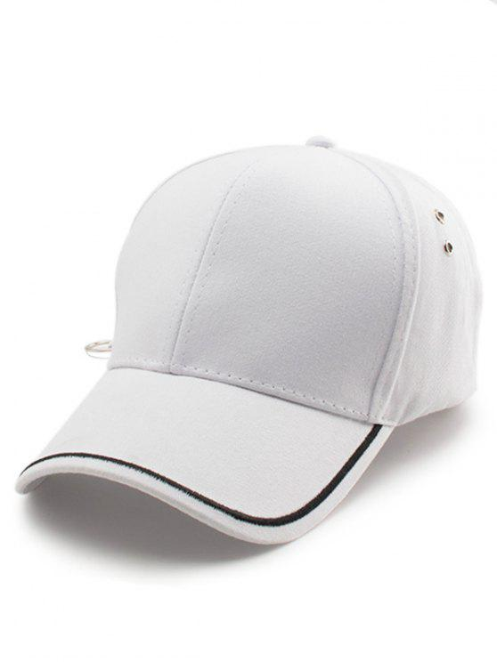 chic Plain Line Embroidery Baseball Hat - WHITE