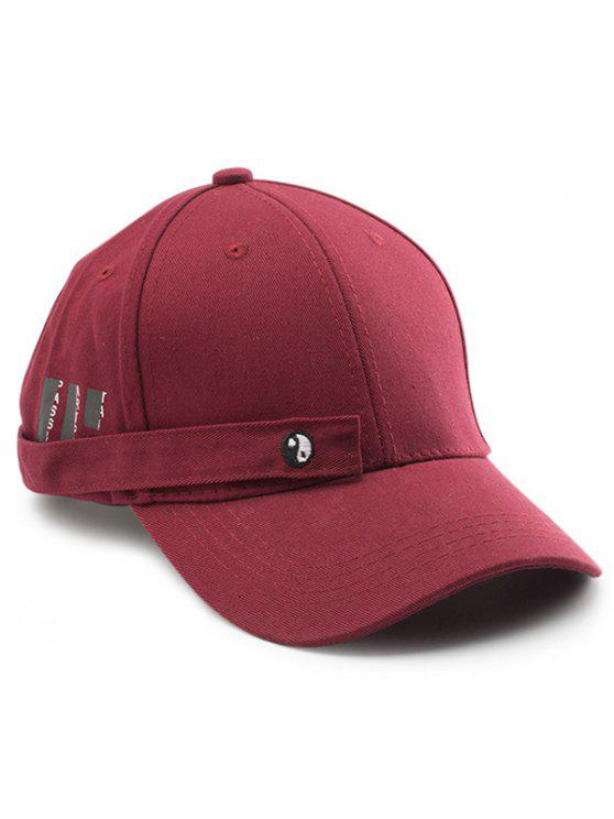 buy Tiny Rectangle Eight Diagrams Embellished Baseball Dad's Hat - WINE RED