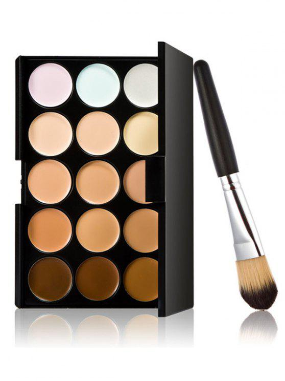 new 15 Colours Concealer Palette and Foundation Brush - MULTI