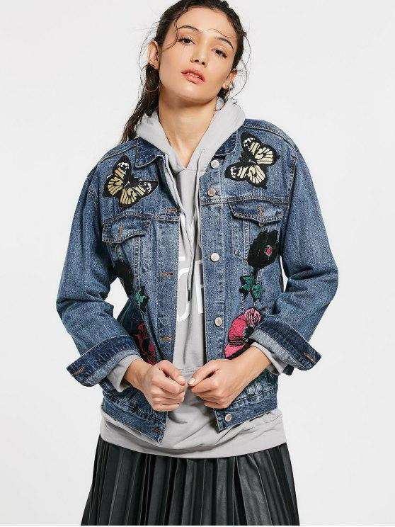 chic Butterfly Floral Patched Pockets Denim Jacket - DENIM BLUE S