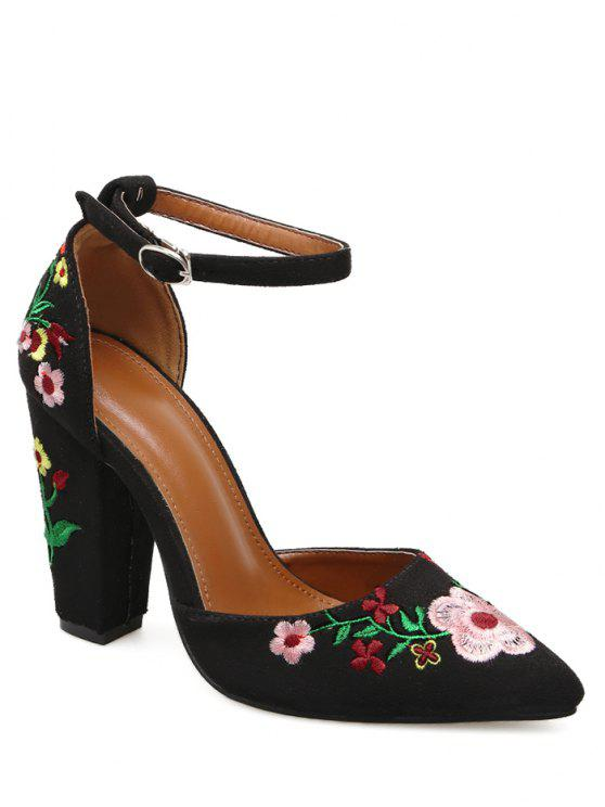 ladies Embroidery Block Heel Two Piece Pumps - BLACK 40