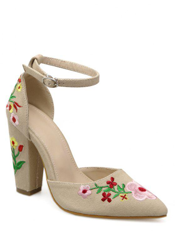 online Embroidery Block Heel Two Piece Pumps - APRICOT 37
