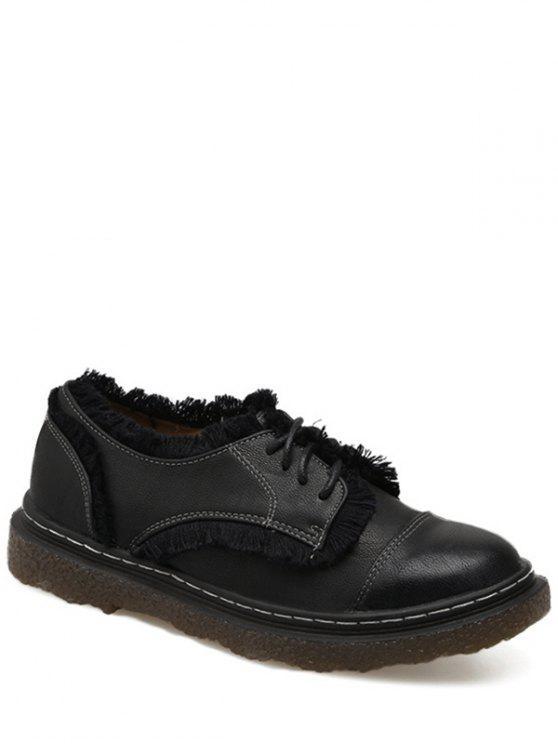Costura franja atar hasta zapatos planos - Negro 38