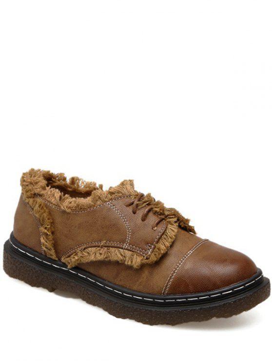 Costura franja atar hasta zapatos planos - Marrón 37