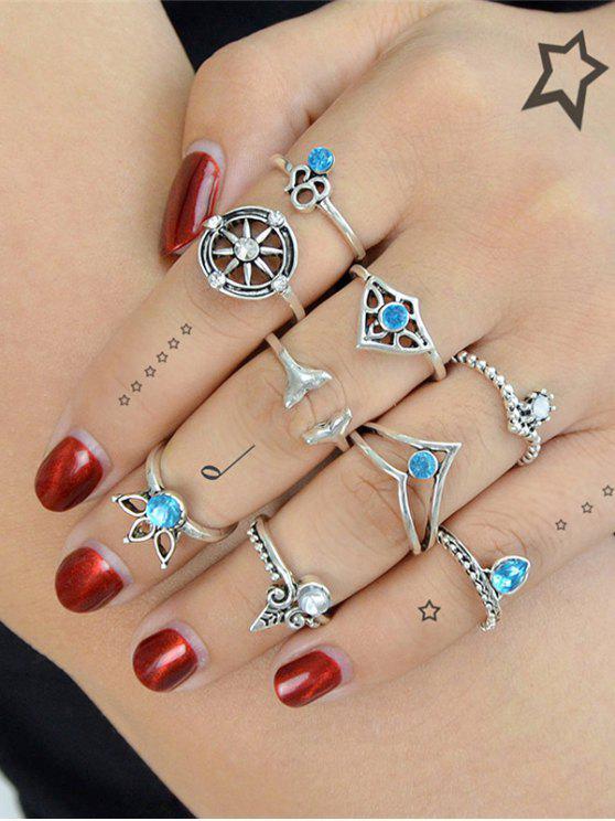 Faux Crystal Mermaid Tail Teardrop Ring Set - Prata