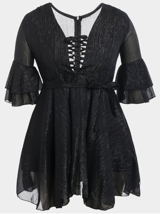 online Flare Sleeve Plus Size Lace Up Dress - BLACK 3XL