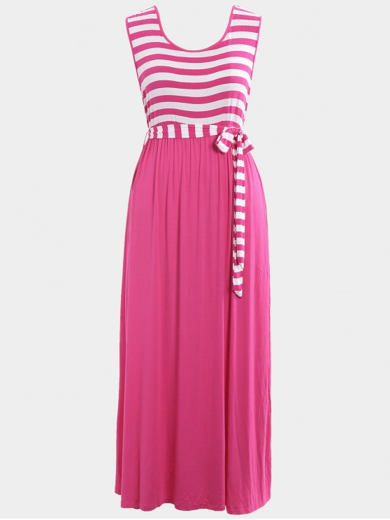 outfits Plus Size Striped Belted Maxi Dress - TUTTI FRUTTI 4XL