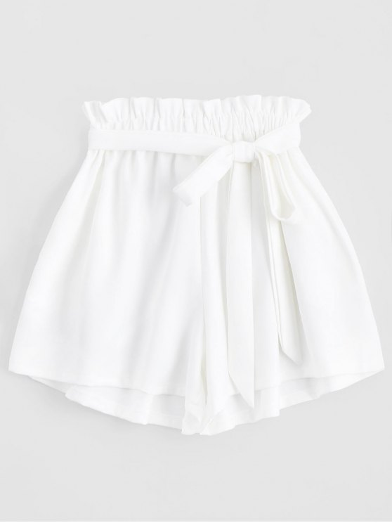 women's Smocked Belted High Waisted Shorts - WHITE ONE SIZE