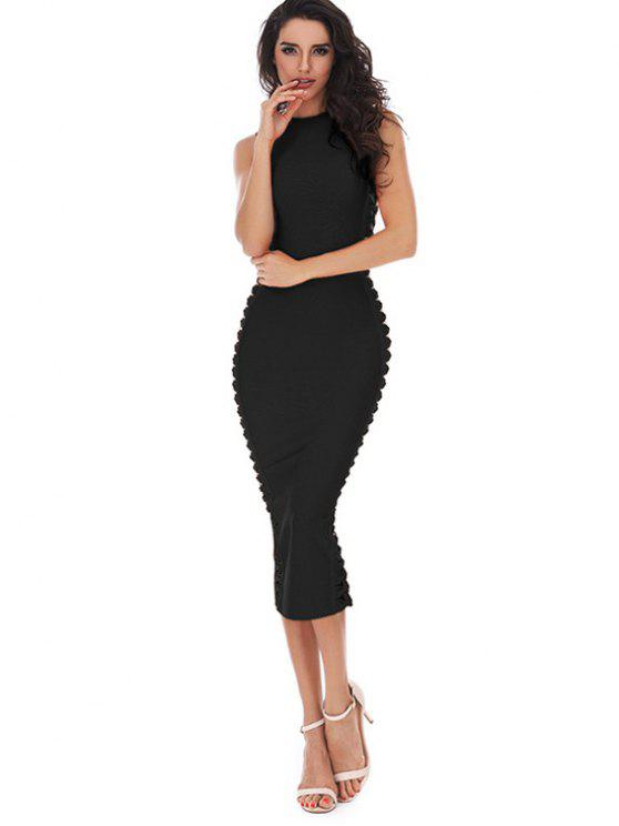 fancy Hollow Out Sleeveless Slit Bandage Dress - BLACK L