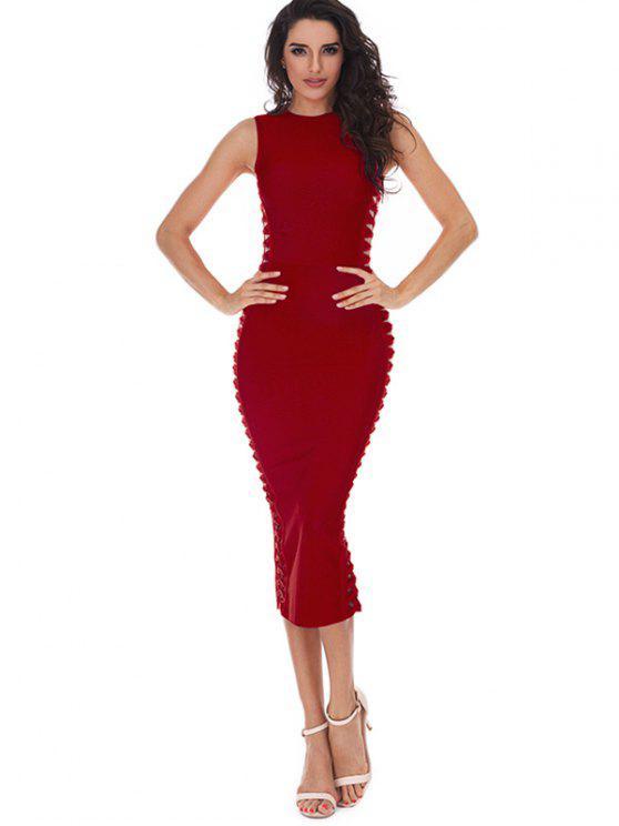 fashion Hollow Out Sleeveless Slit Bandage Dress - RED M