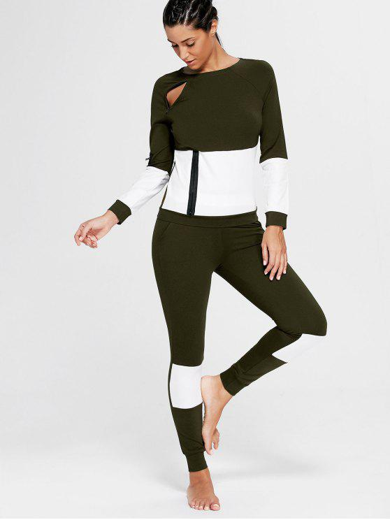 Color Block Zip Sweatshirt et Skinny Joggers - Vert Foncé L