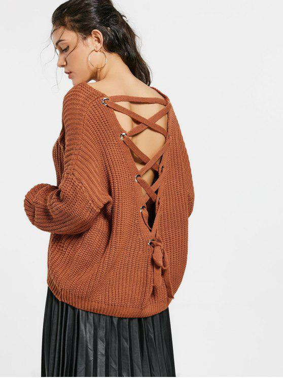 womens Back Lace Up Drop Shoulder Sweater - COFFEE ONE SIZE