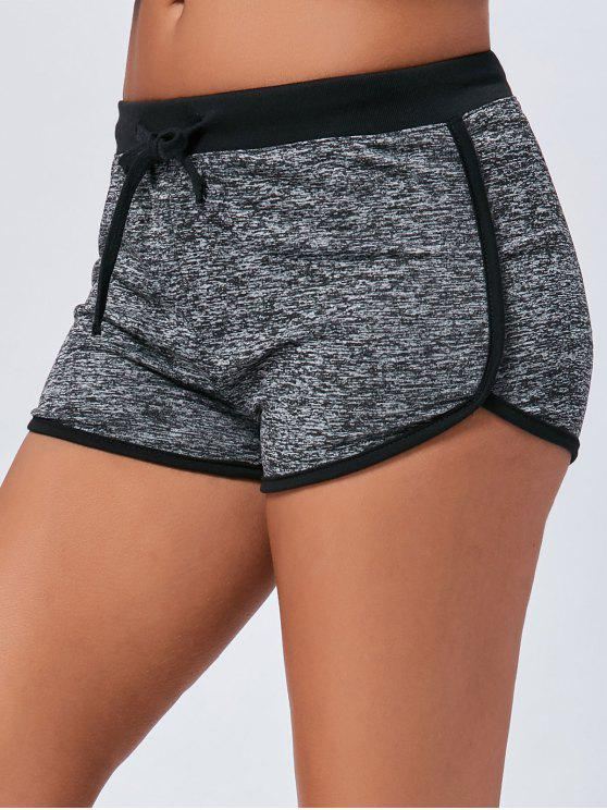 latest Mini Two Tone Track Drawstring Shorts - DEEP GRAY S