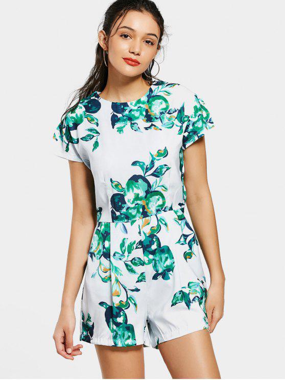 fashion Back Zip Fruit Print Romper - COLORMIX L