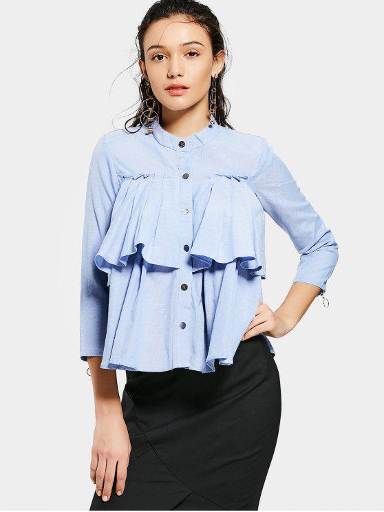 Weite Bluse mit Knopf und Volants - Hellblau L
