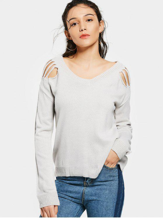 womens Ripped Shoulder V Neck Sweater - GRAY S