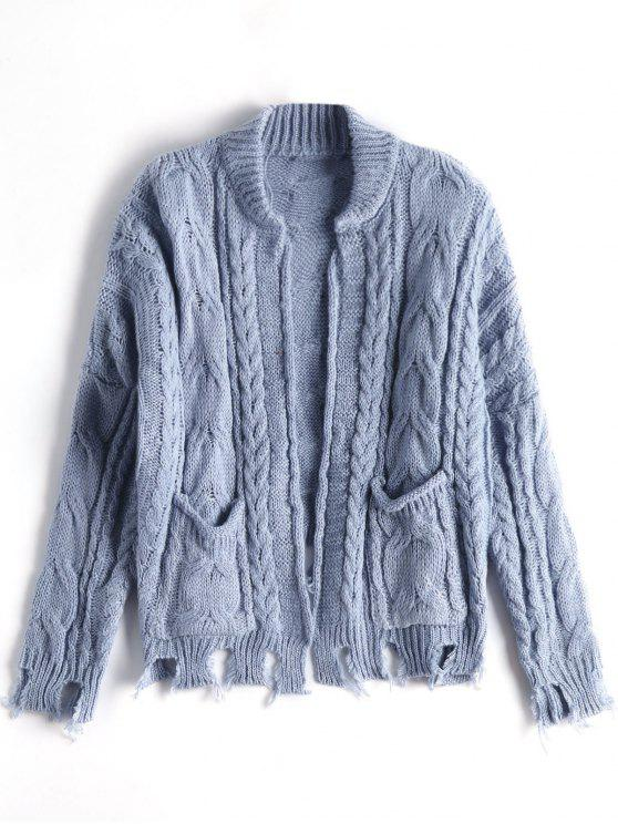 new Open Front Ripped Cable Knit Cardigan - STONE BLUE ONE SIZE
