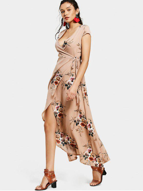 fancy Floral Asymmetrical Wrap Maxi Dress - FLORAL M