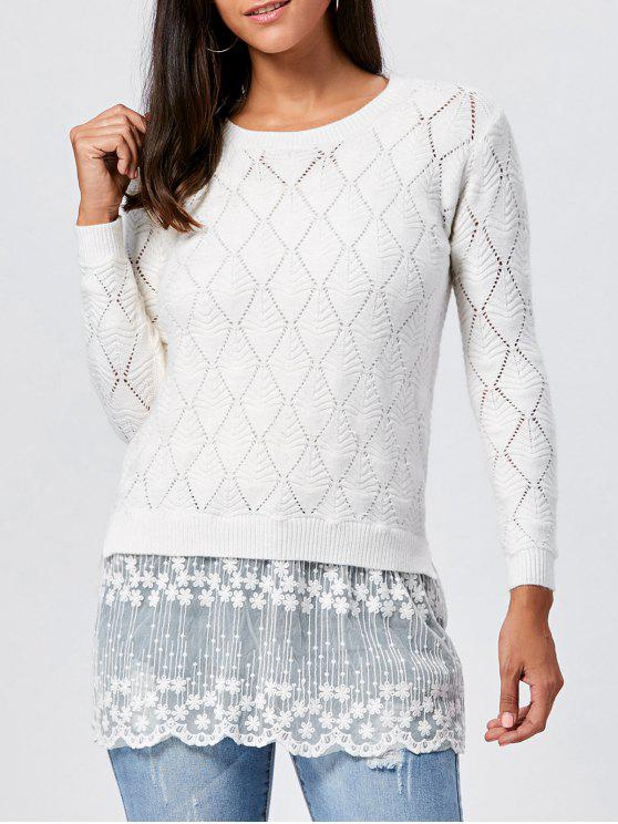 sale Lace Panel Hollow Out Argyle Ribbed Pullover Sweater - WHITE 2XL