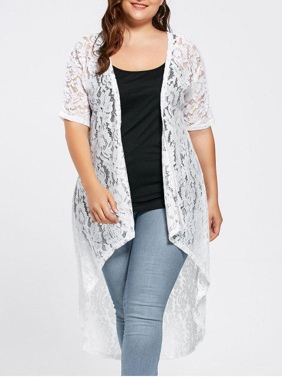 trendy Plus Size Lace Crochet Long Open Front Cardigan - WHITE 2XL