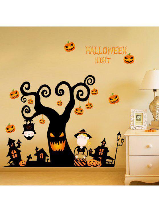 دي الكرتون شكل شجرة هالوين ملصقات الحائط - أسود