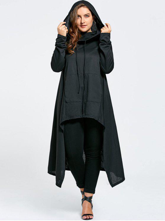 Más tamaño funnel collar Maxi Asymmetric Hoodie - Negro 7XL