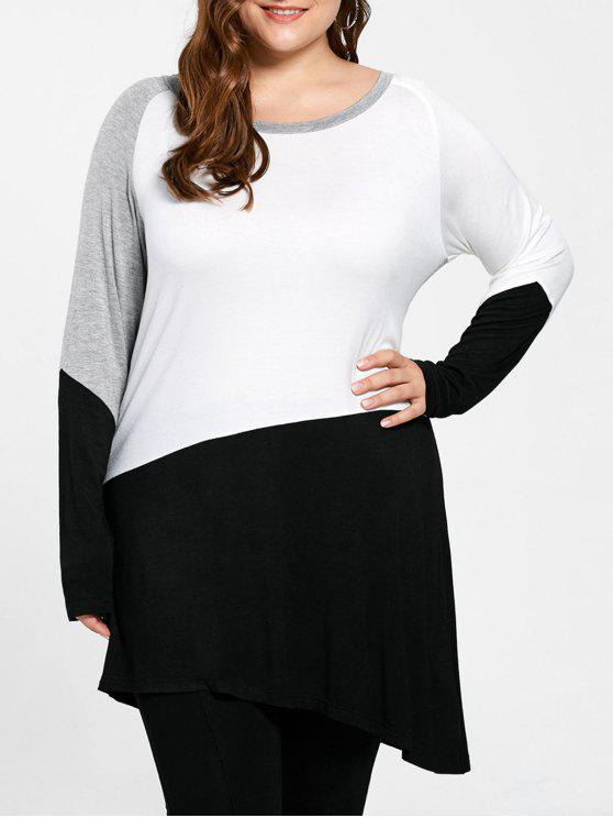 Plus Size Long Sleeve Asymmetrische Tunika Top - COLORMIX  2XL