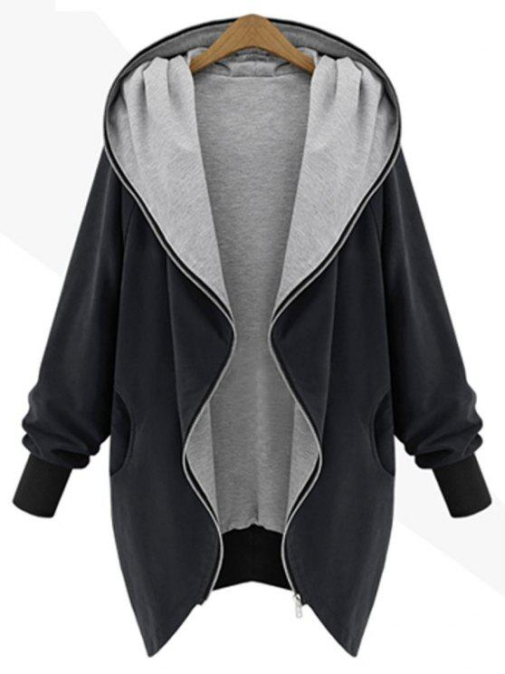 Zip Up Plus Size Kapuzenmantel - Schwarz XL