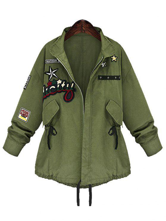 معطف الحجم الكبير بسحاب - الجيش الأخضر 5XL