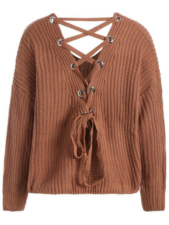 055a1cf286e0 33% OFF] 2019 Lace Up Drop Shoulder Plus Size Sweater In LIGHT BROWN ...