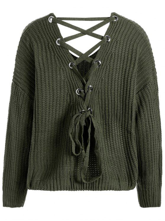 0f3ee6ffc3e8 2019 Lace Up Drop Shoulder Plus Size Sweater In BLACKISH GREEN ONE ...