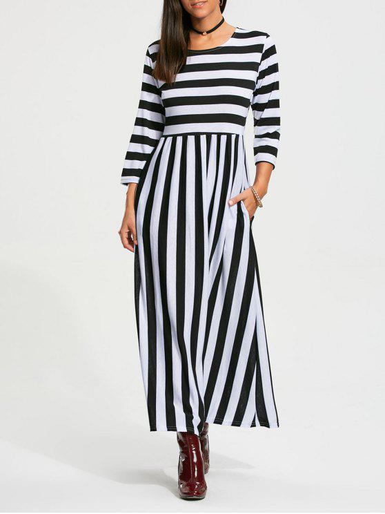 eca38771f236 29% OFF  2019 Stripe High Waist Maxi Dress With Pocket In BLACK