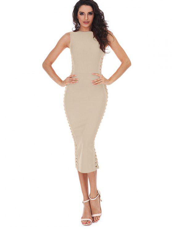 ladies Hollow Out Sleeveless Slit Bandage Dress - APRICOT L