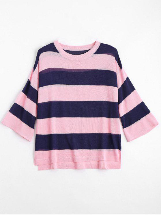 fancy Loose Stripes Crew Neck Sweater - PINK L