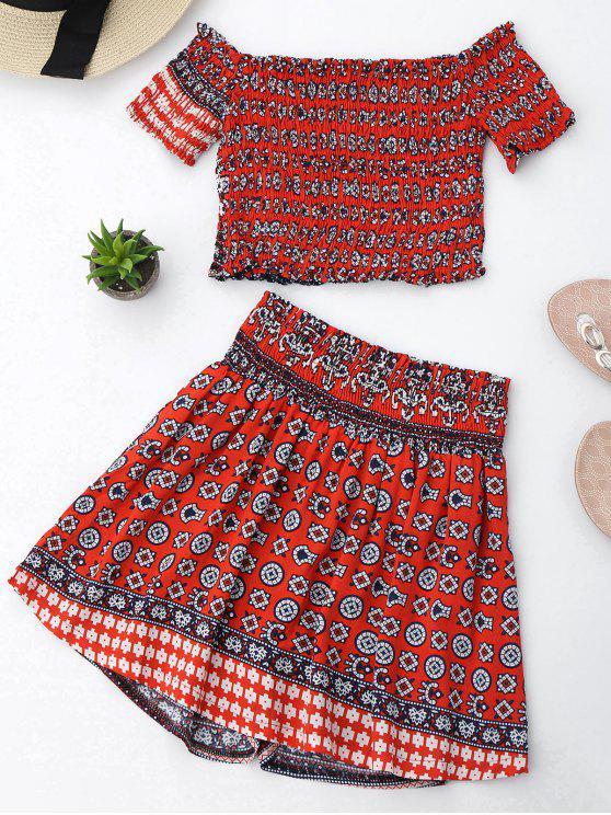 Terno do top curto e da saia com o padrão do tribo impresso - Vermelho L