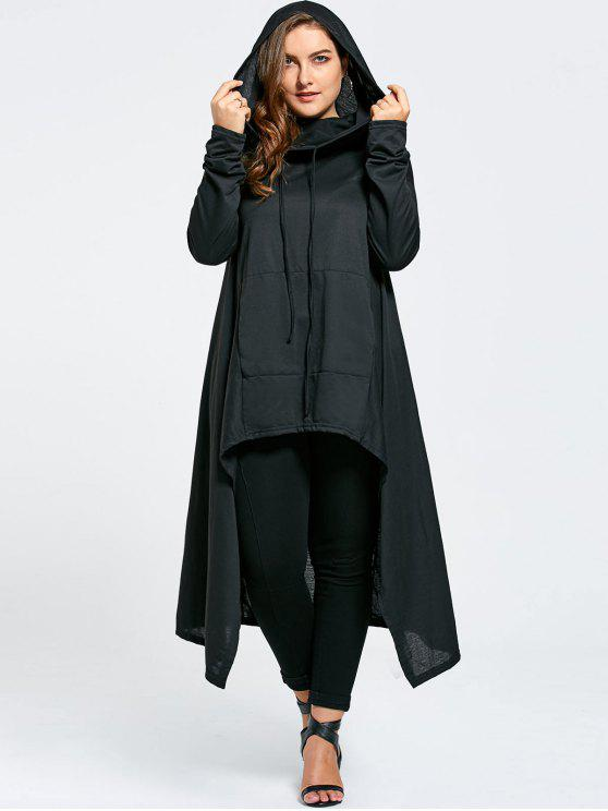 affordable Plus Size Funnel Collar Maxi Asymmetric Hoodie - BLACK 7XL