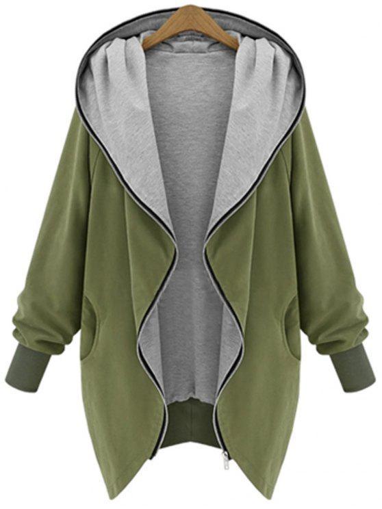 معطف بقلنسوة الحجم الكبير بسحاب - الجيش الأخضر 4XL