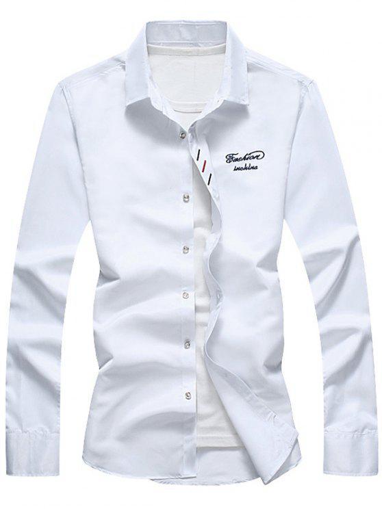 زر أسفل التطريز قميص - أبيض 5XL